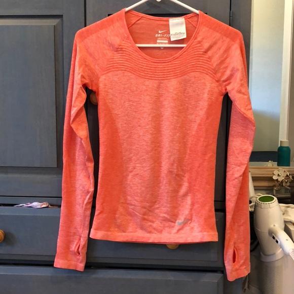 New Nike Dri-Fit Running Top T-Shirt Ladies Womens Orange Gym Fitness